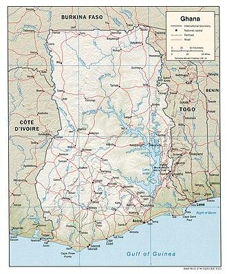 Christianity in Ghana - Map of Ghana