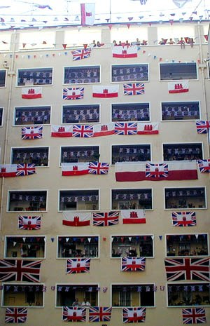 Gibraltar Tercentenary flag display