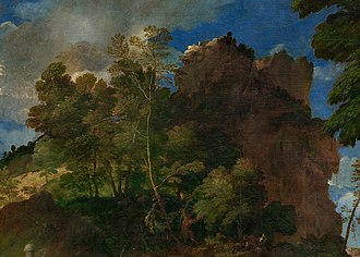 The Feast of the Gods - Image: Giovanni Bellini and Titian The Feast of the Gods Detail landscape to left