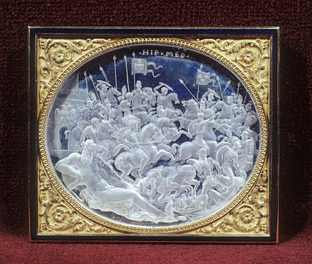 The Battle of Pavia in an engraved rock crystal cameo relief commissioned by Cardinal Ippolito de' Medici, by Giovanni Bernardi, Rome, c 1531-35 (Walters Art Museum) Giovanni Bernardi - The Battle of Pavia - Walters 4168.jpg
