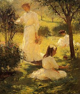 Girls in the Garden oil c.1906 Frank Weston Benson