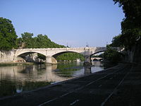 Giuseppe Mazzini Bridge from lower lungotevere, Rome, Italy.jpg