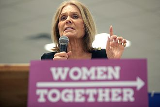 National Women's Political Caucus - Gloria Steinem speaking with supporters at the Women Together Arizona Summit at Carpenters Local Union in Phoenix, Arizona.