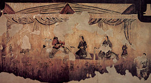Korean tea - Gakjeochong, a Goguryeo tomb, shows a knight drinking tea with two ladies (5-6th century)
