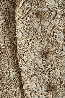 b51d98071 Detail on gold thread crochet in a mid-20th century short jacket designed  by Sybil Connolly