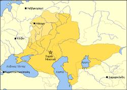 Χάρτης που απεικονίζει τα εδάφη της Μοσχοβίας (μπεζ) και της Χρυσής Ορδής (κίτρινο) το 1389.
