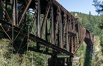 Southern Railway of Vancouver Island - The bridge over Niagara Creek Canyon. This cantilever suspension bridge was built in England in 1883 and first used in Canada crossing the Fraser River at Cisco where it became known as the Cisco Bridge. It was moved to Vancouver Island for the present crossing in 1910.