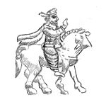 Gondophares on horse, from his coinage (Click image for reference).