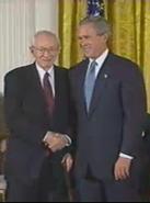 Gordon B. Hinckley and George W. Bush