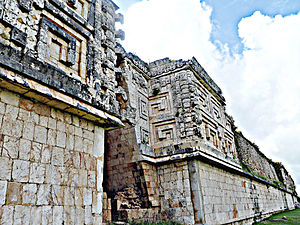Mesoamerican architecture - Governor's Palace rear view and details, Uxmal