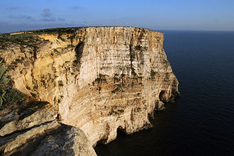 Geology of Malta - Dingli cliffs showing stratification in the Lower Coralline Limestone