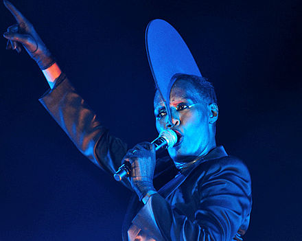 Jones performing in 2011. Grace Jones @ Fremantle Park (17 4 2011) (5648773026).jpg
