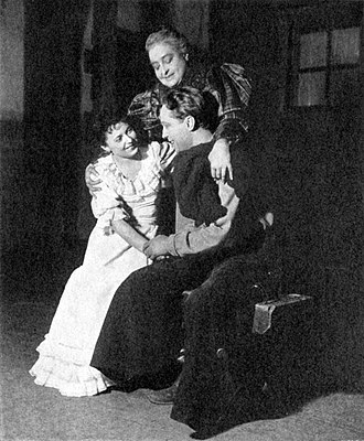 Franchot Tone - June Walker (Laurey Williams), Helen Westley (Aunt Eller Murphy) and Franchot Tone (Curly McClain) in the original Broadway production of Green Grow the Lilacs (1931)
