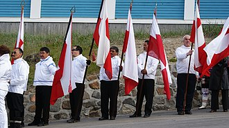 Greenlandic independence - Greenland national day celebration 2010 in Sisimiut exactly a year after the establishment of self-rule in 2009