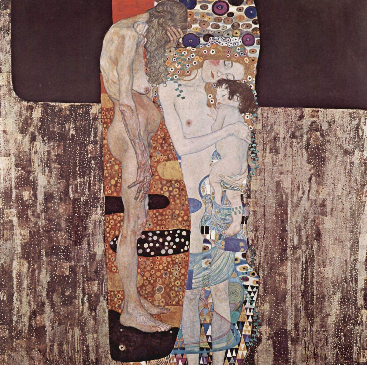 Statua Madre e figlio da tre età della donna di Gustav Klimt arte scultura