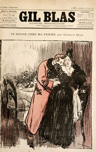 """Gil Blas (periodical) - '""""Je soupe chez ma femme"""" (""""I Sup with My Wife""""). Cover illustration by Théophile Steinlen for a story from """"Monsieur, madame et bébé"""" by Gustave Droz."""