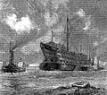 H.M.S. Dreadnought, a hospital ship, being towed to the brea Wellcome L0001891.jpg