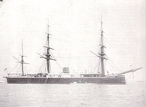 HMS Monarch (1868) - Monarch after her 1872 conversion to barque rig.