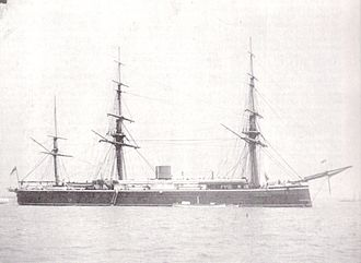 HMS Monarch (1868) - Monarch after her 1872 conversion to barque rig.