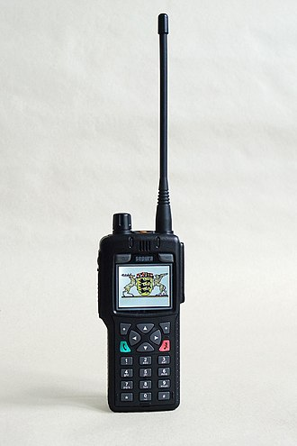 Omnidirectional antenna - Example of omnidirectional antenna; a whip antenna on a walkie-talkie