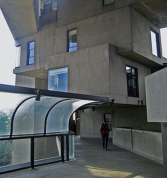 Habitat 67 - A view from within the complex along a semi-covered pathway connecting two sections of units.