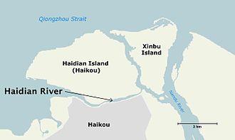 Haidian River - Image: Haidian River, Haikou, Hainan map 01 lq