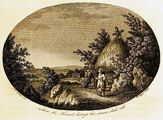 "The Natural History and Antiquities of Selborne - Half-title oval illustration where the hermit hangs his straw-clad cell in the 1813 edition of Gilbert White's Natural History of Selborne. Painting by Samuel Hieronymus Grimm; engraved by William Angus. The ""hermit"" was Henry White, dressed to look picturesque."