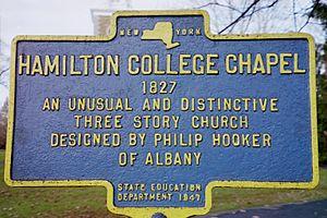 Hamilton College Chapel - Historic Marker for the Hamilton College Chapel