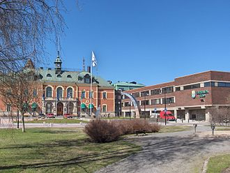 Haparanda - Haparanda Hotel (left) and City Hall (right)