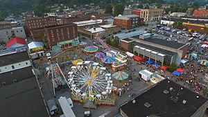 Harlan, Kentucky - Downtown Harlan during the annual Poke Sallet Festival