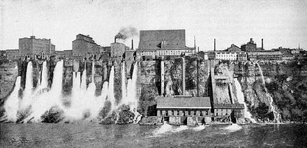 New York side of Niagara Gorge, c. 1901 Harnessing the Niagara River's power in Niagara Falls, New York, c. 1901.jpg