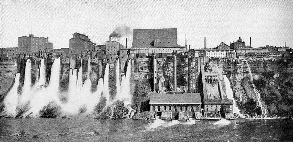 Harnessing the Niagara River's power in Niagara Falls, New York, c. 1901