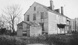 Hatfield House (Philadelphia, Pennsylvania) - In its original location, 1929. Simon Gratz High School is in the background. Photo: HABS