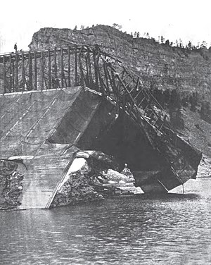 Hauser Dam - Looking downstream at the west end Hauser Dam after its catastrophic failure on April 14, 1908.