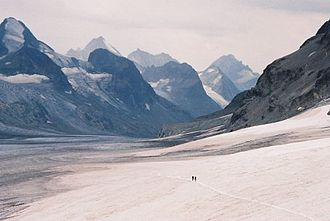 Haute Route - Two alpinists on the Otemma Glacier on the Haute Route