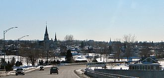 Hawkesbury, Ontario - Skyline of Hawkesbury as seen from the Long-Sault Bridge.