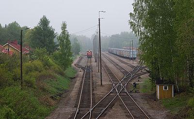 bangården i Heinola, bara godståg passerar