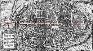Hellweg - The Westphalian Hellweg (marked red) at Dortmund in 1610, map by Detmar Muhler