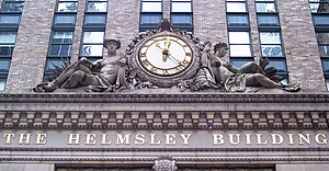 Helmsley Building - Clock and sculptures over the entrance