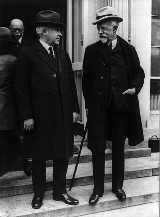John T. Adams - Adams (left) with Senator Henry Cabot Lodge, April 1924