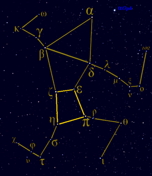 Hercules (constellation) - Traditional view of the Hercules constellation highlighting the quadrangle which forms the Keystone asterism.