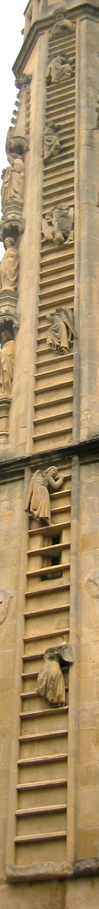 Bath Abbey - The sculptures of angels climb Jacob's Ladder on the west front of Bath Abbey