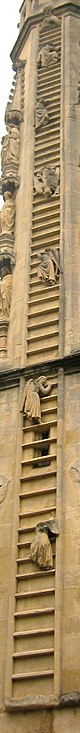 The angels climb Jacob's Ladder on the west front of Bath Abbey. Himnastigi.jpg