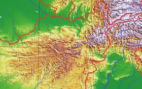 Carte topographique de l'Hindou Kouch.