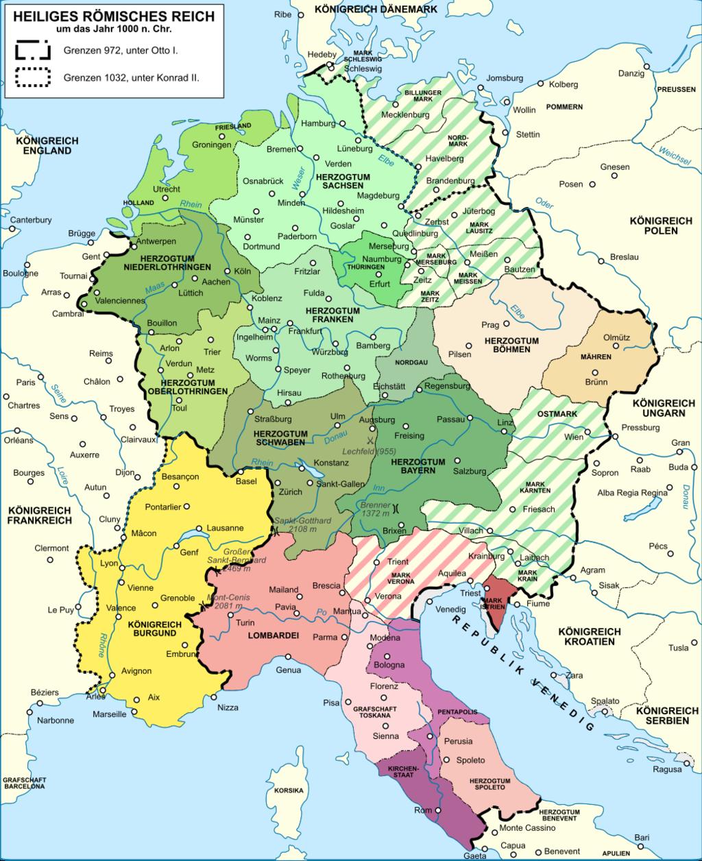 Holy Roman Empire 1000 map-de
