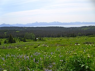 Diamond Ridge, Alaska - View from Diamond Ridge on the Homestead Trail, showing Kachemak Bay and the Kenai Mountains