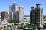 Fox Theatre in foreground with the Cox-Carlton Hotel and Georgian Terrace Hotel in background, with The Ponce Condos to the right