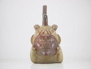 Moche portrait vessel - Huaco Retrato Mochica in the Larco Museum, in Lima, Peru