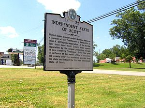 Huntsville, Tennessee - THC marker along TN-63 recalling the Independent State of Scott