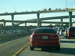 Transportation in the Inland Empire - I-10, 215 Interchange traffic towards downtown San Bernardino.